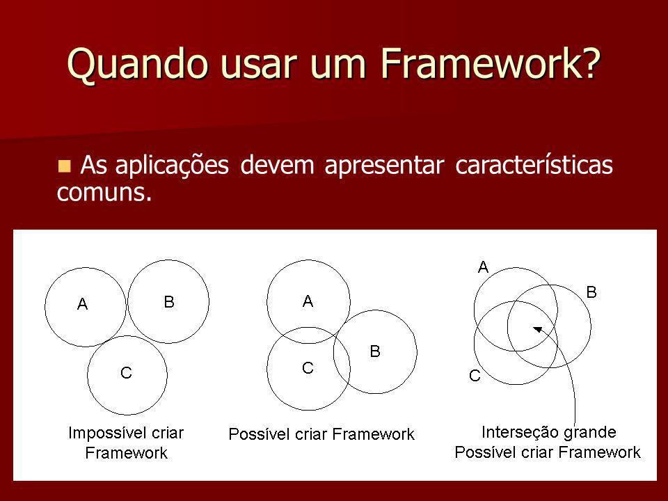 Quando usar um Framework? As aplicações devem apresentar características comuns.