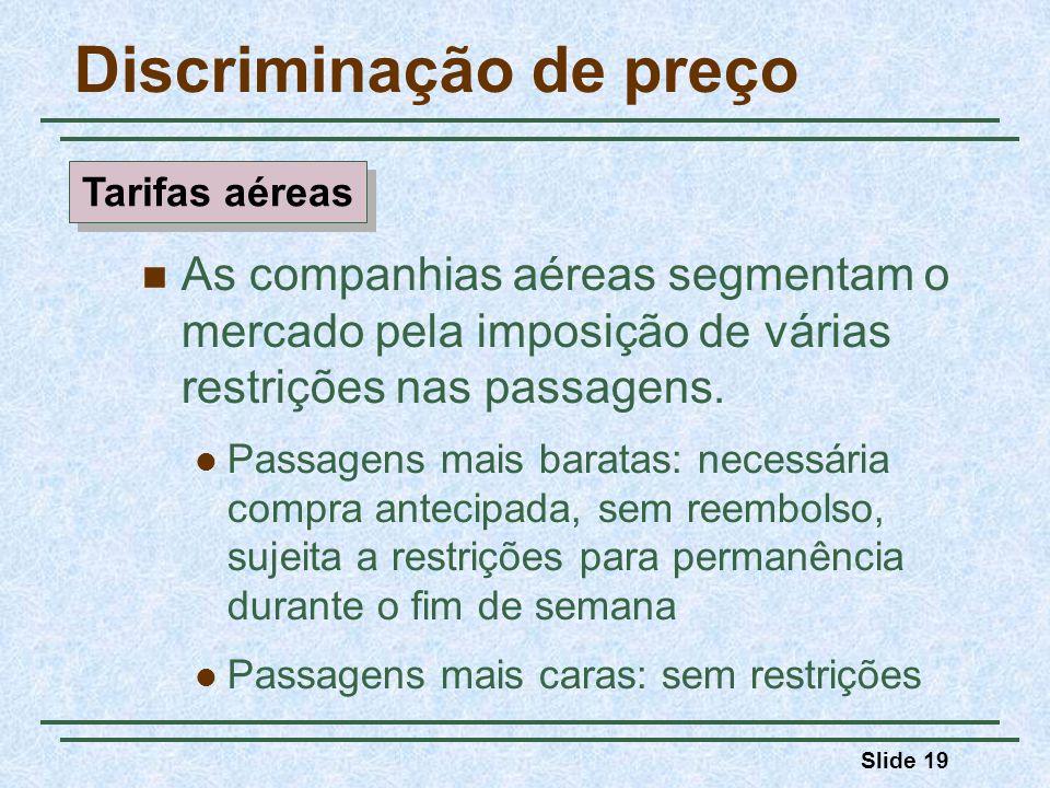 Slide 19 Discriminação de preço As companhias aéreas segmentam o mercado pela imposição de várias restrições nas passagens. Passagens mais baratas: ne