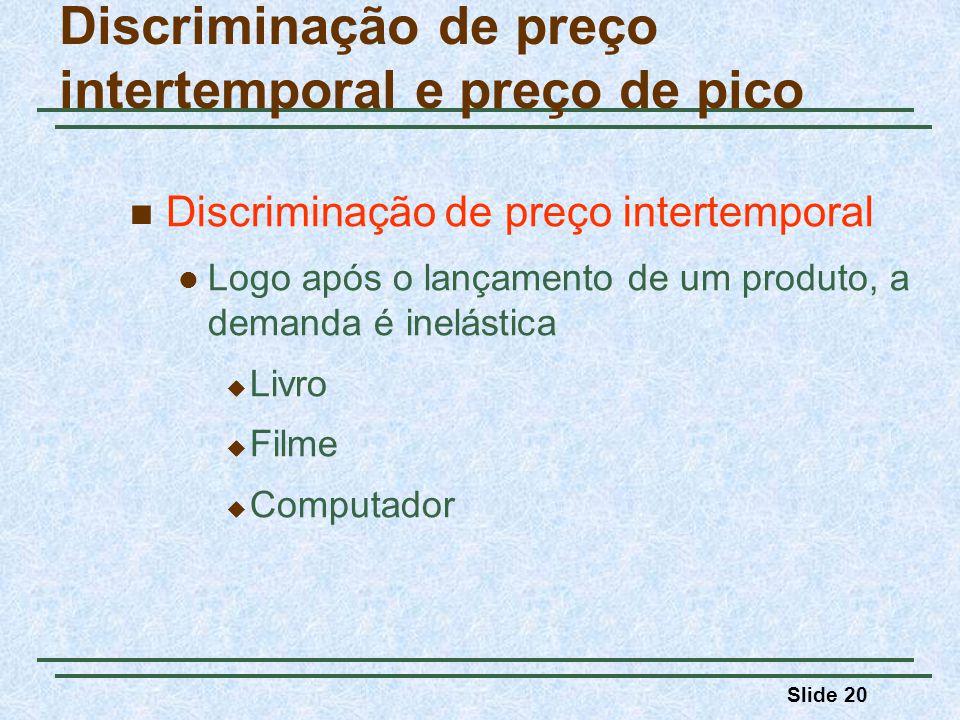 Slide 20 Discriminação de preço intertemporal e preço de pico Discriminação de preço intertemporal Logo após o lançamento de um produto, a demanda é i