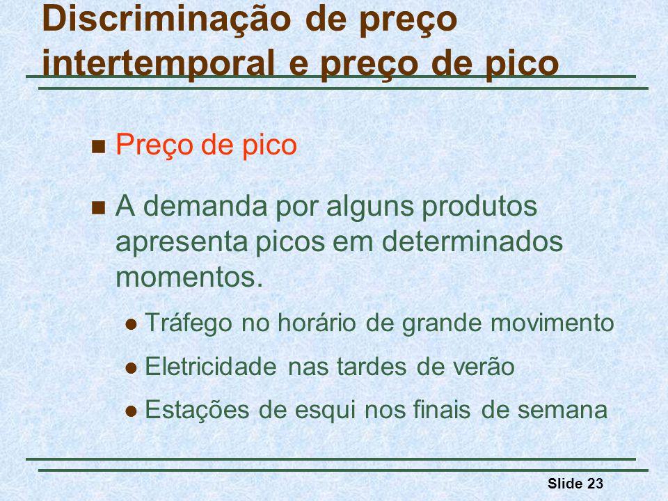 Slide 23 Preço de pico A demanda por alguns produtos apresenta picos em determinados momentos. Tráfego no horário de grande movimento Eletricidade nas