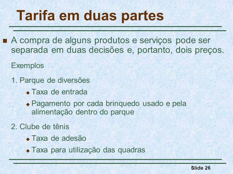 Slide 26 Tarifa em duas partes A compra de alguns produtos e serviços pode ser separada em duas decisões e, portanto, dois preços. Exemplos 1. Parque