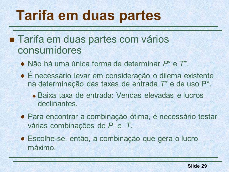 Slide 29 Tarifa em duas partes Tarifa em duas partes com vários consumidores Não há uma única forma de determinar P* e T*. É necessário levar em consi
