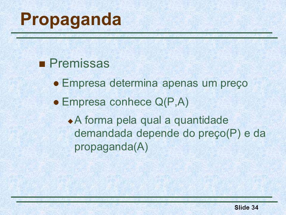 Slide 34 Propaganda Premissas Empresa determina apenas um preço Empresa conhece Q(P,A) A forma pela qual a quantidade demandada depende do preço(P) e
