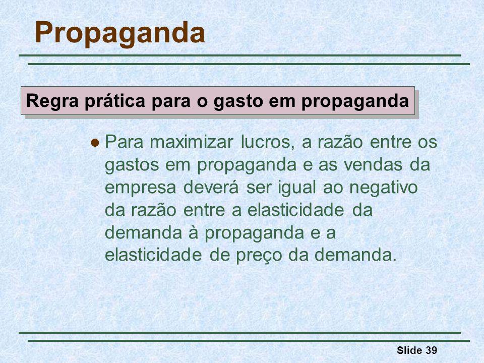 Slide 39 Propaganda Para maximizar lucros, a razão entre os gastos em propaganda e as vendas da empresa deverá ser igual ao negativo da razão entre a