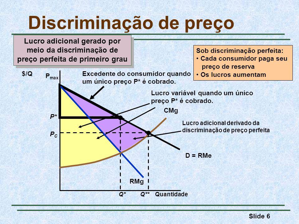 Slide 17 Discriminação de preço Quantidade D2D2 RMg 2 $/Q CMg D1D1 RMg 1 Q*Q* P*P* O Grupo 1, com demanda D 1, não está disposto a pagar o suficiente para que seja rentável discriminar preços.