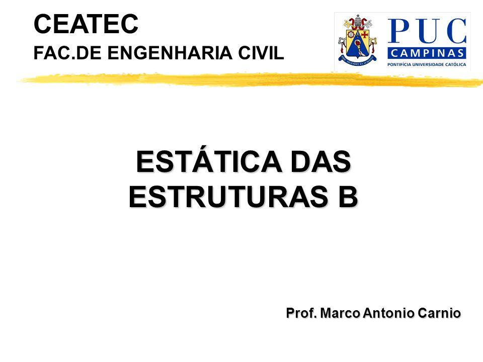 Prof. Marco Antonio Carnio ESTÁTICA DAS ESTRUTURAS B CEATEC FAC.DE ENGENHARIA CIVIL