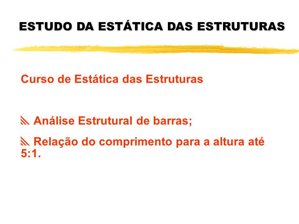 ESTUDO DA ESTÁTICA DAS ESTRUTURAS Curso de Estática das Estruturas Análise Estrutural de barras; Relação do comprimento para a altura até 5:1.