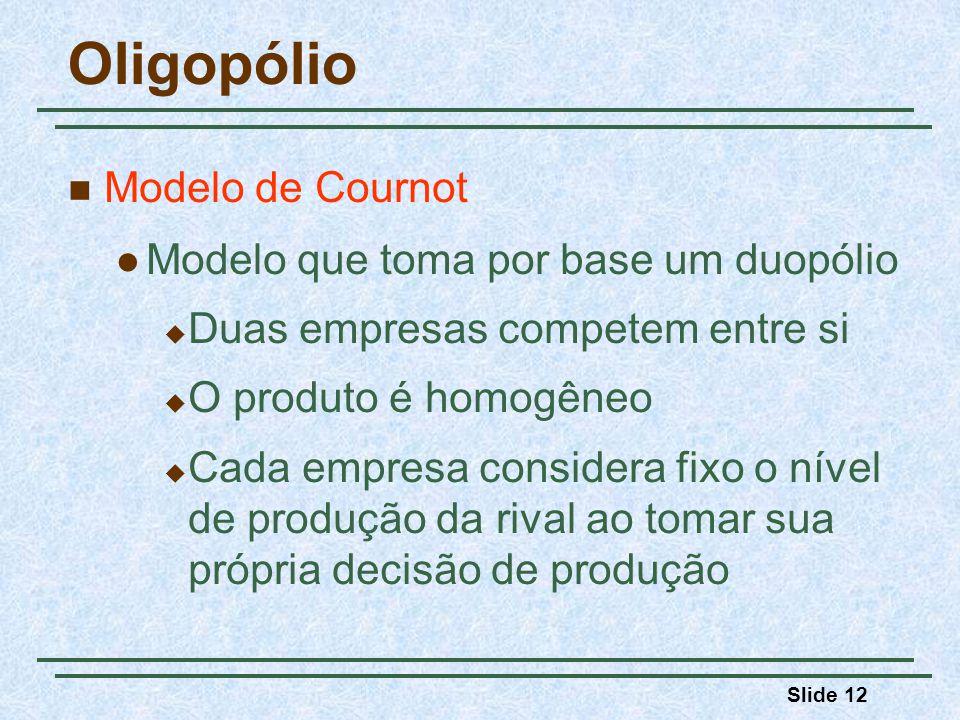 Slide 12 Oligopólio Modelo de Cournot Modelo que toma por base um duopólio Duas empresas competem entre si O produto é homogêneo Cada empresa consider