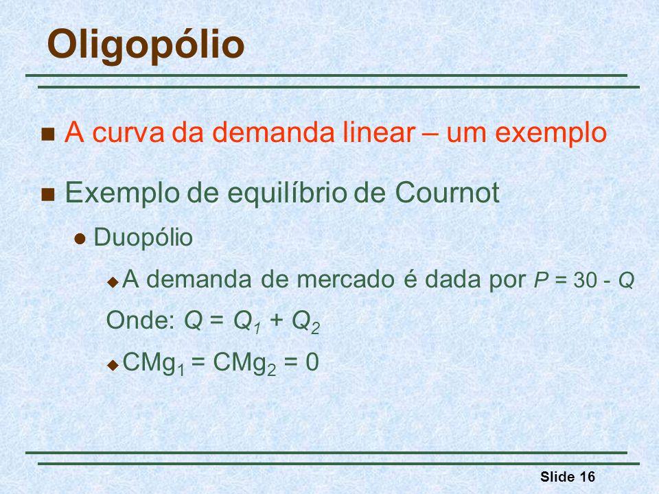 Slide 16 Oligopólio A curva da demanda linear – um exemplo Exemplo de equilíbrio de Cournot Duopólio A demanda de mercado é dada por P = 30 - Q Onde: