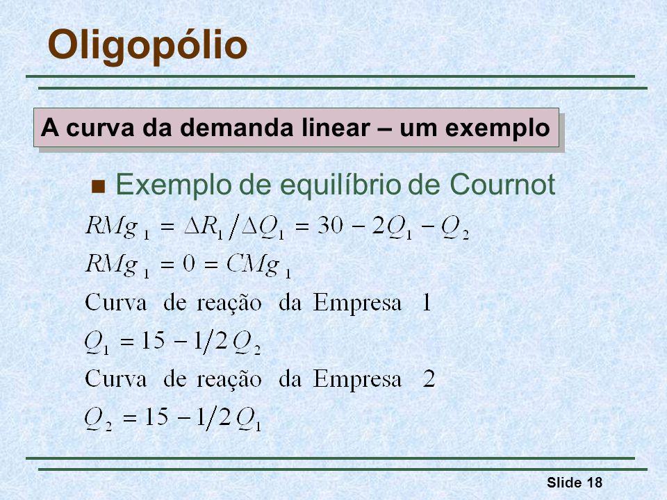 Slide 18 Oligopólio Exemplo de equilíbrio de Cournot A curva da demanda linear – um exemplo