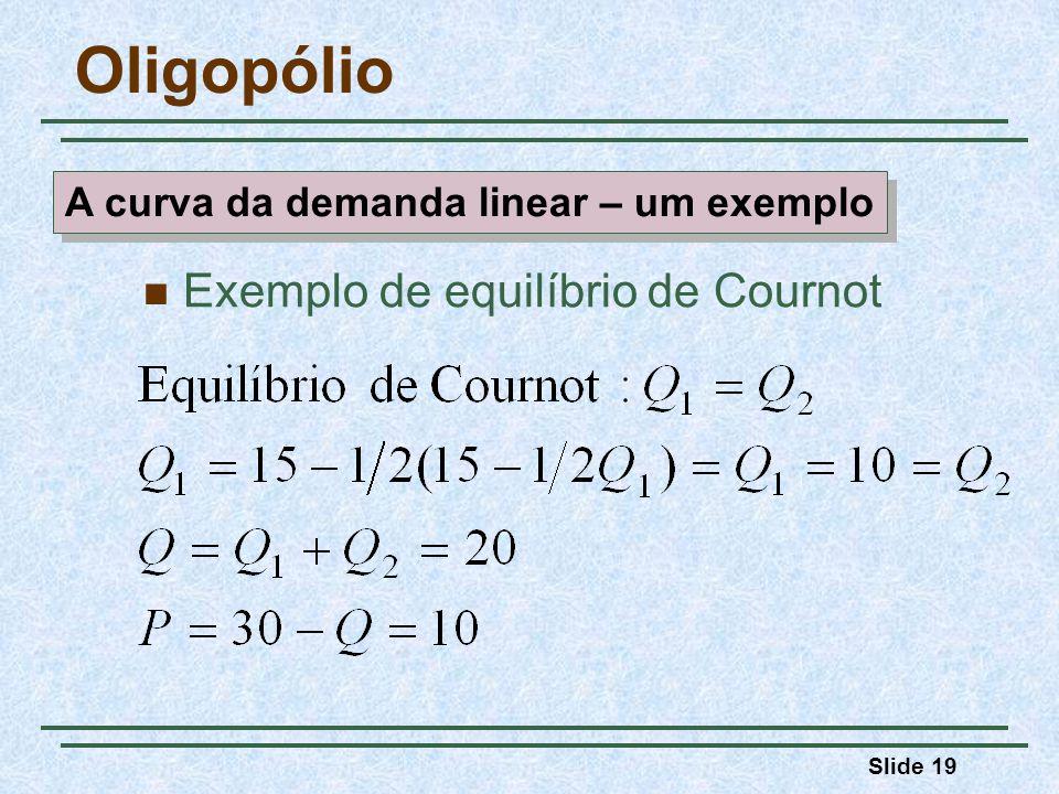 Slide 19 Oligopólio Exemplo de equilíbrio de Cournot A curva da demanda linear – um exemplo