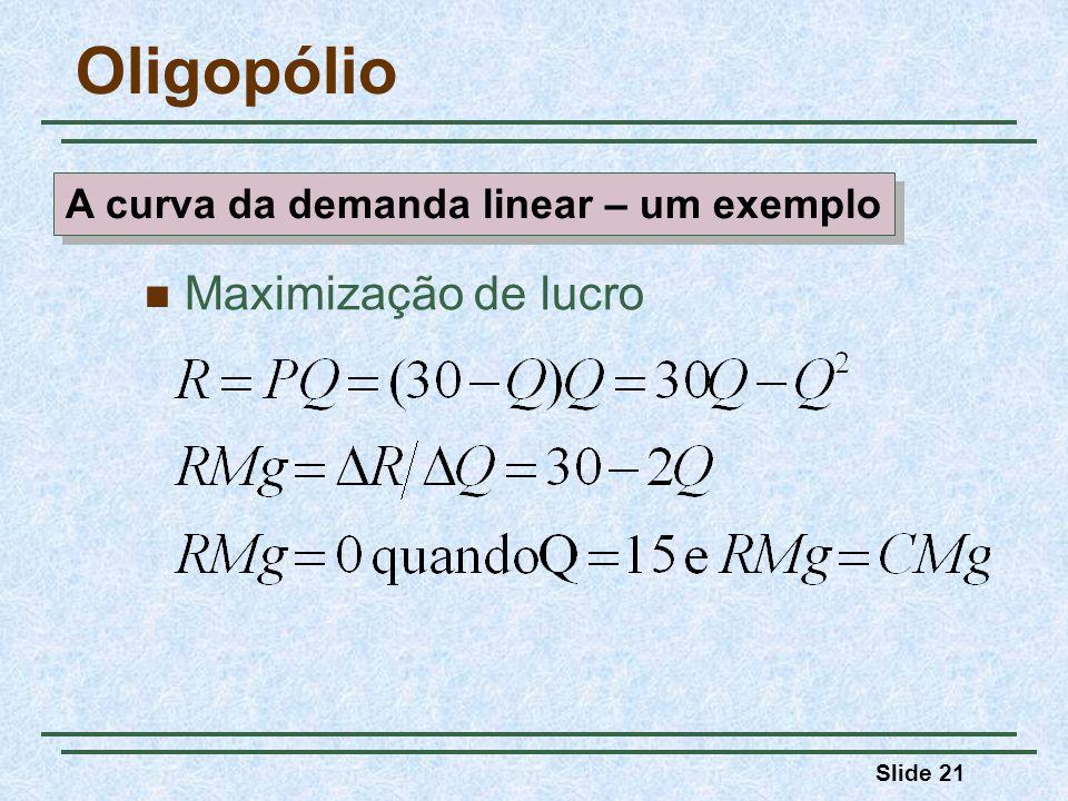 Slide 21 Oligopólio A curva da demanda linear – um exemplo Maximização de lucro