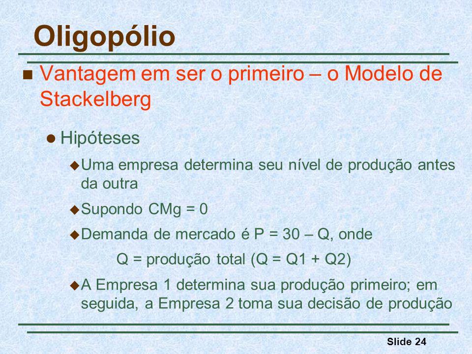 Slide 24 Oligopólio Vantagem em ser o primeiro – o Modelo de Stackelberg Hipóteses Uma empresa determina seu nível de produção antes da outra Supondo
