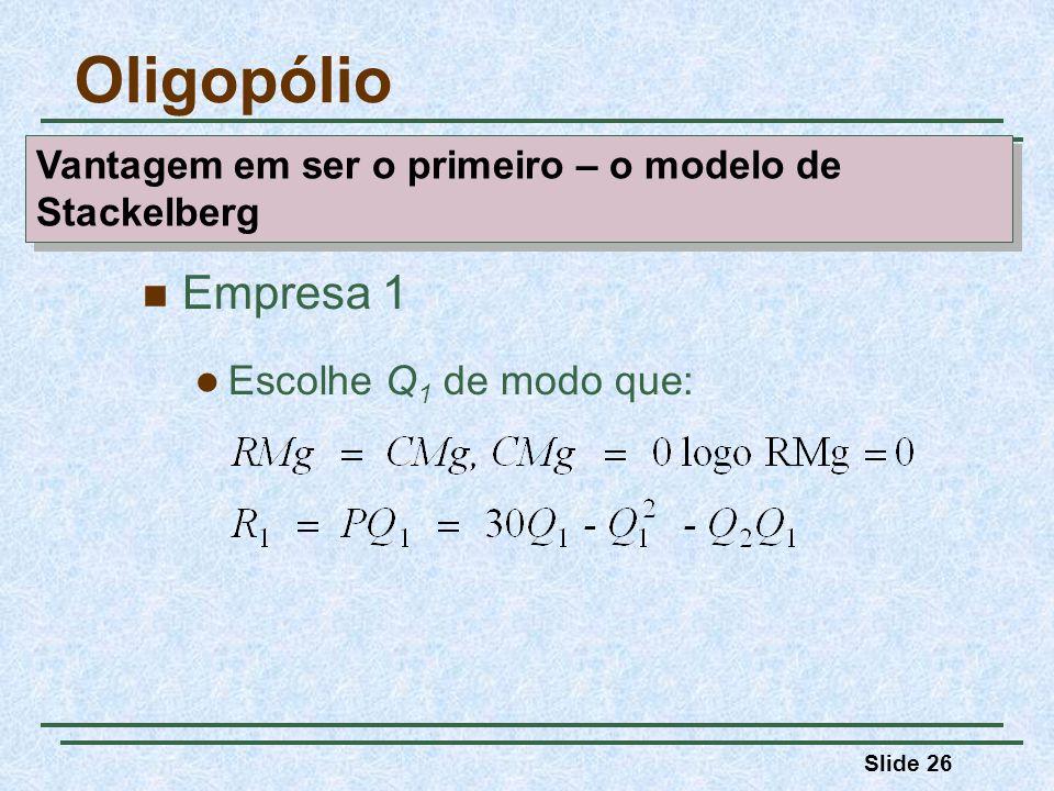 Slide 26 Empresa 1 Escolhe Q 1 de modo que: Oligopólio Vantagem em ser o primeiro – o modelo de Stackelberg