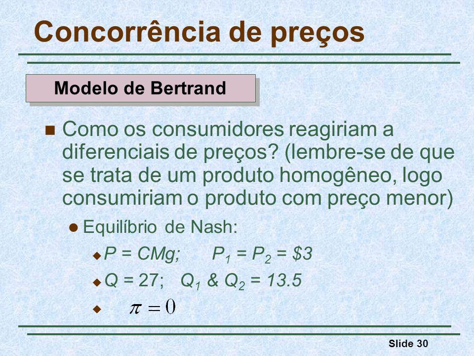 Slide 30 Concorrência de preços Como os consumidores reagiriam a diferenciais de preços? (lembre-se de que se trata de um produto homogêneo, logo cons