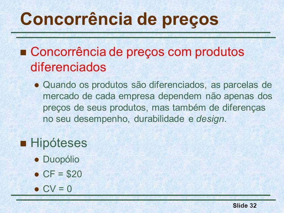 Slide 32 Concorrência de preços Concorrência de preços com produtos diferenciados Quando os produtos são diferenciados, as parcelas de mercado de cada