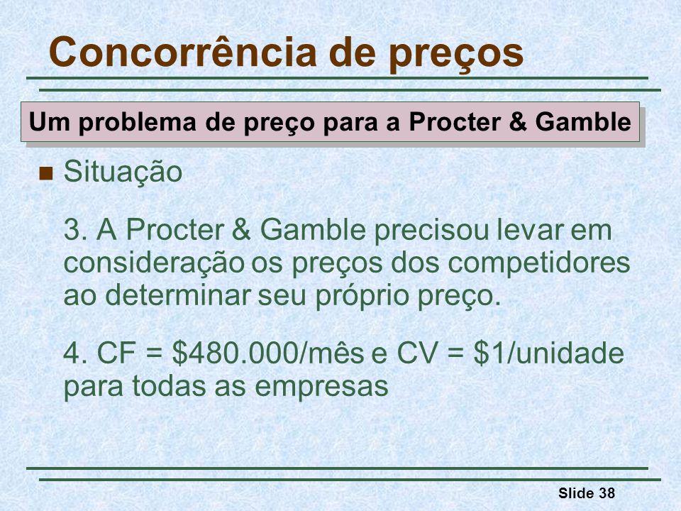 Slide 38 Situação 3. A Procter & Gamble precisou levar em consideração os preços dos competidores ao determinar seu próprio preço. 4. CF = $480.000/mê