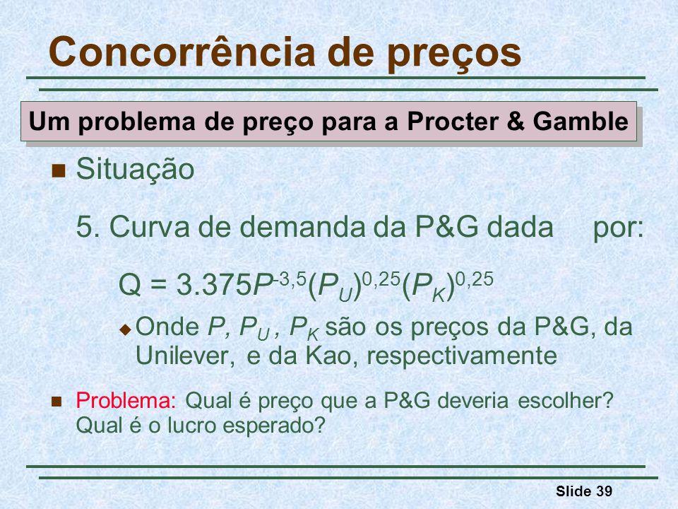 Slide 39 Situação 5. Curva de demanda da P&G dada por: Q = 3.375P -3,5 (P U ) 0,25 (P K ) 0,25 Onde P, P U, P K são os preços da P&G, da Unilever, e d