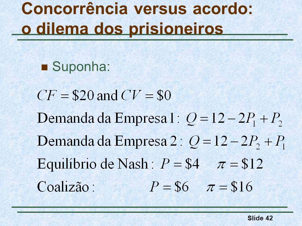 Slide 42 Suponha: Concorrência versus acordo: o dilema dos prisioneiros