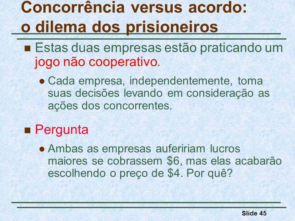 Slide 45 Estas duas empresas estão praticando um jogo não cooperativo. Cada empresa, independentemente, toma suas decisões levando em consideração as