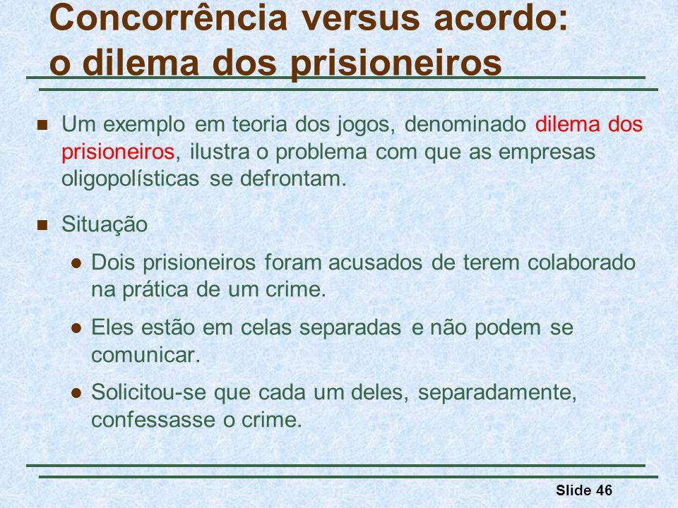 Slide 46 Um exemplo em teoria dos jogos, denominado dilema dos prisioneiros, ilustra o problema com que as empresas oligopolísticas se defrontam. Situ