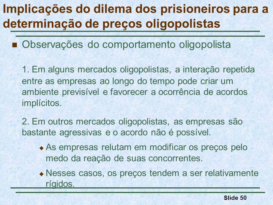Slide 50 Implicações do dilema dos prisioneiros para a determinação de preços oligopolistas Observações do comportamento oligopolista 1. Em alguns mer