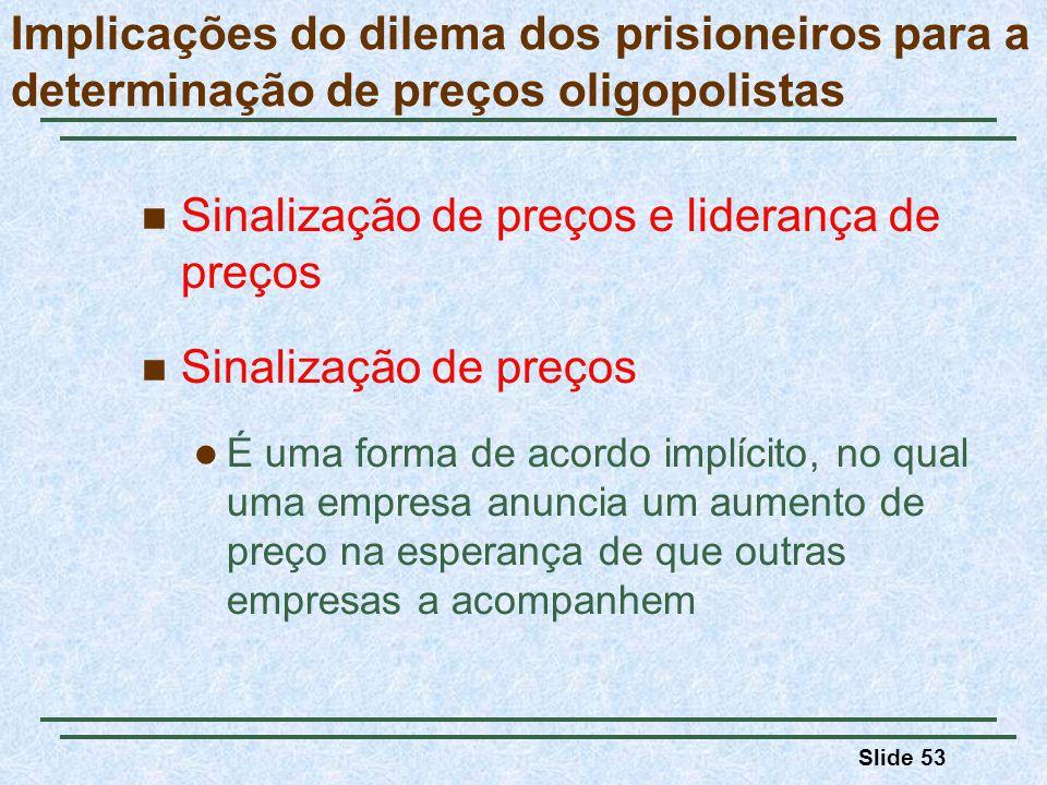 Slide 53 Implicações do dilema dos prisioneiros para a determinação de preços oligopolistas Sinalização de preços e liderança de preços Sinalização de
