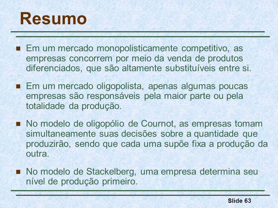 Slide 63 Resumo Em um mercado monopolisticamente competitivo, as empresas concorrem por meio da venda de produtos diferenciados, que são altamente sub