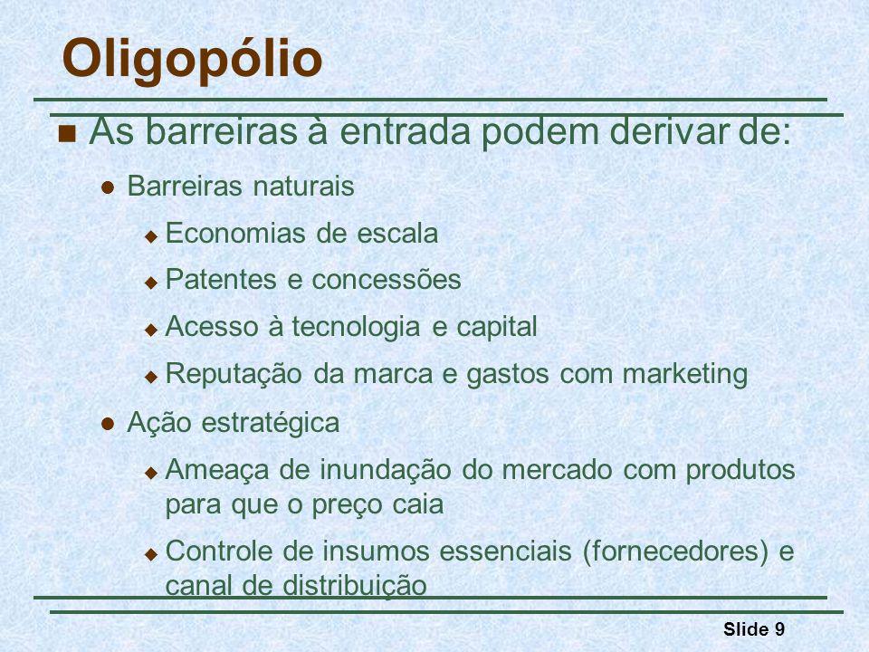 Slide 10 Oligopólio Equilíbrio no mercado oligopolista Na concorrência perfeita, no monopólio e na concorrência monopolística, os produtores não levavam em consideração a reação das empresas rivais ao tomarem suas decisões de produção e preços.
