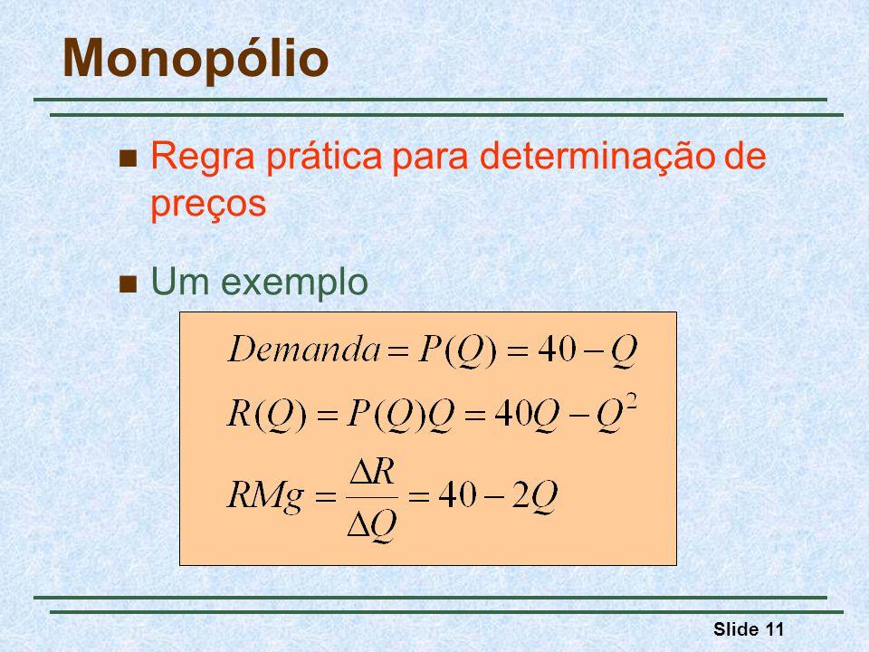 Slide 11 Monopólio Regra prática para determinação de preços Um exemplo