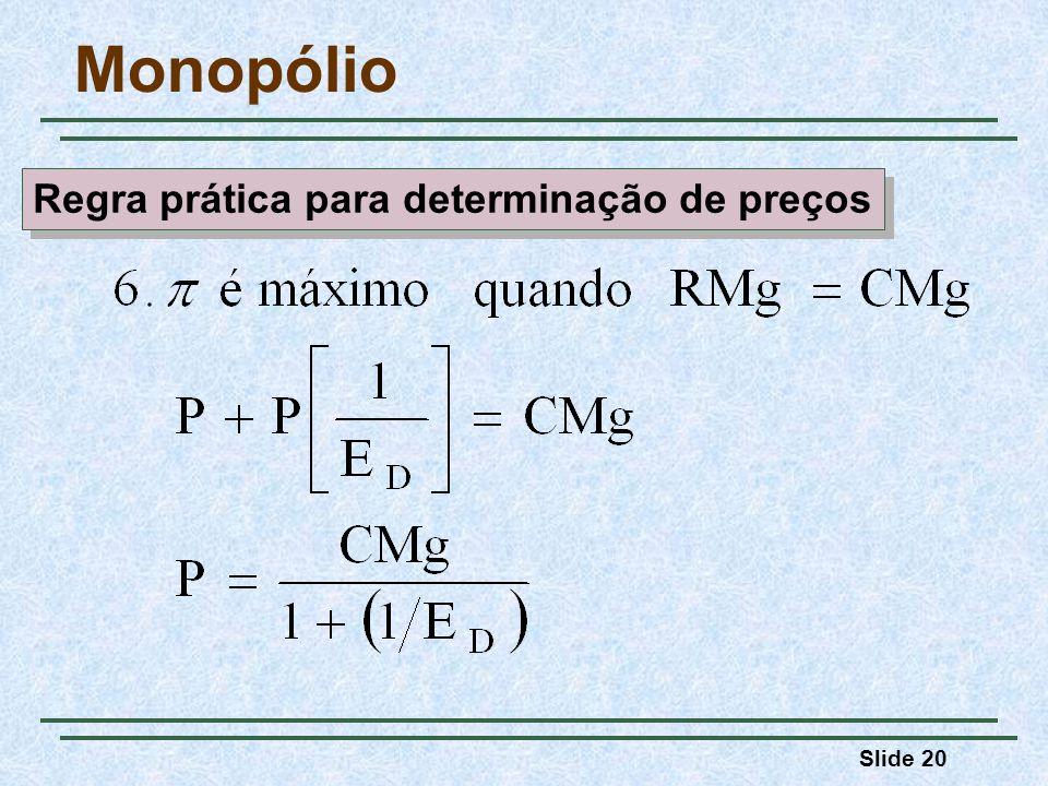 Slide 20 Monopólio Regra prática para determinação de preços