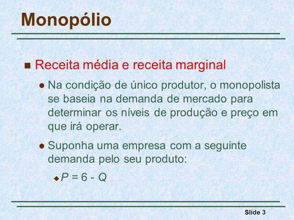 Slide 3 Monopólio Receita média e receita marginal Na condição de único produtor, o monopolista se baseia na demanda de mercado para determinar os níveis de produção e preço em que irá operar.