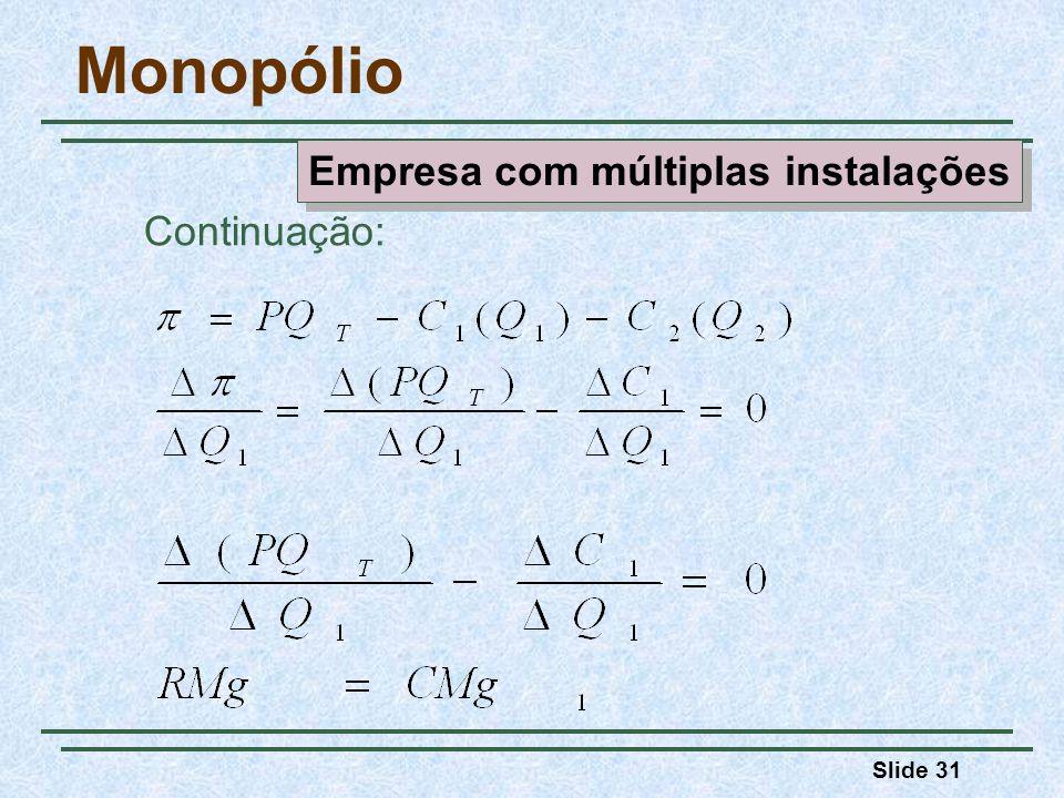 Slide 31 Monopólio Continuação: Empresa com múltiplas instalações