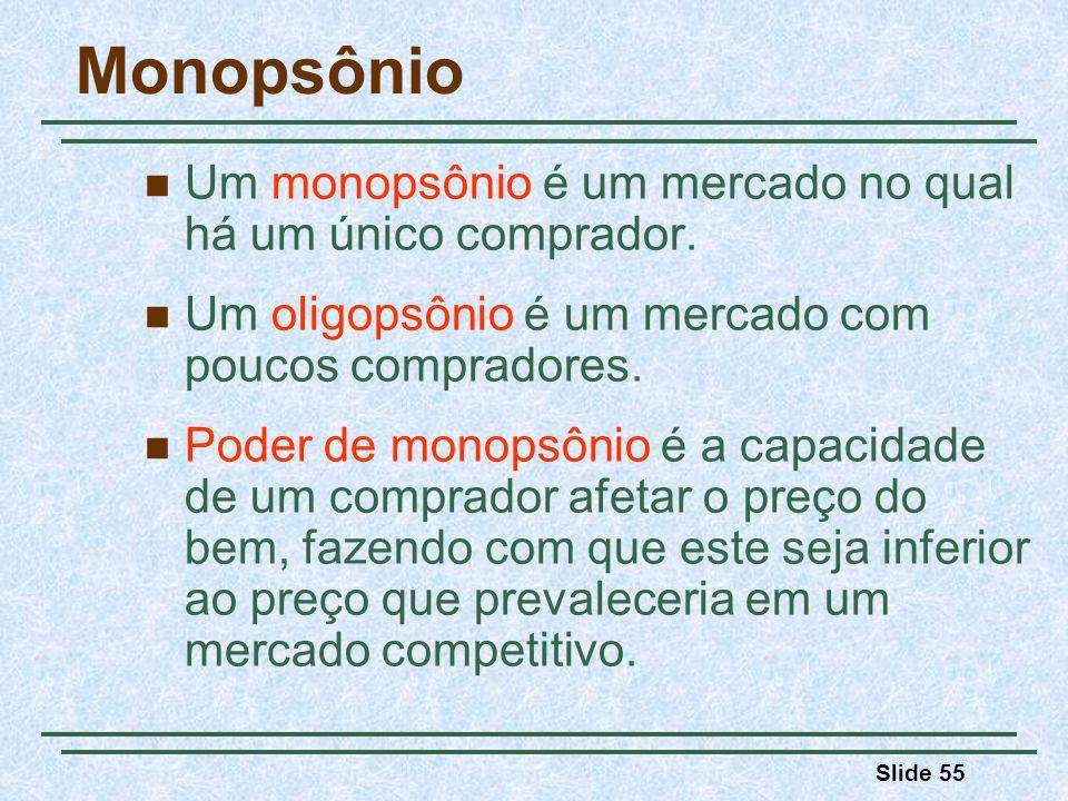 Slide 55 Monopsônio Um monopsônio é um mercado no qual há um único comprador.
