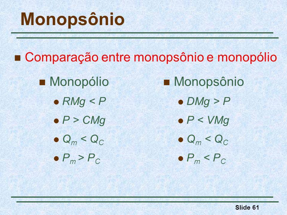 Slide 61 Monopsônio Monopólio RMg < P P > CMg Q m < Q C P m > P C Monopsônio DMg > P P < VMg Q m < Q C P m < P C Comparação entre monopsônio e monopólio