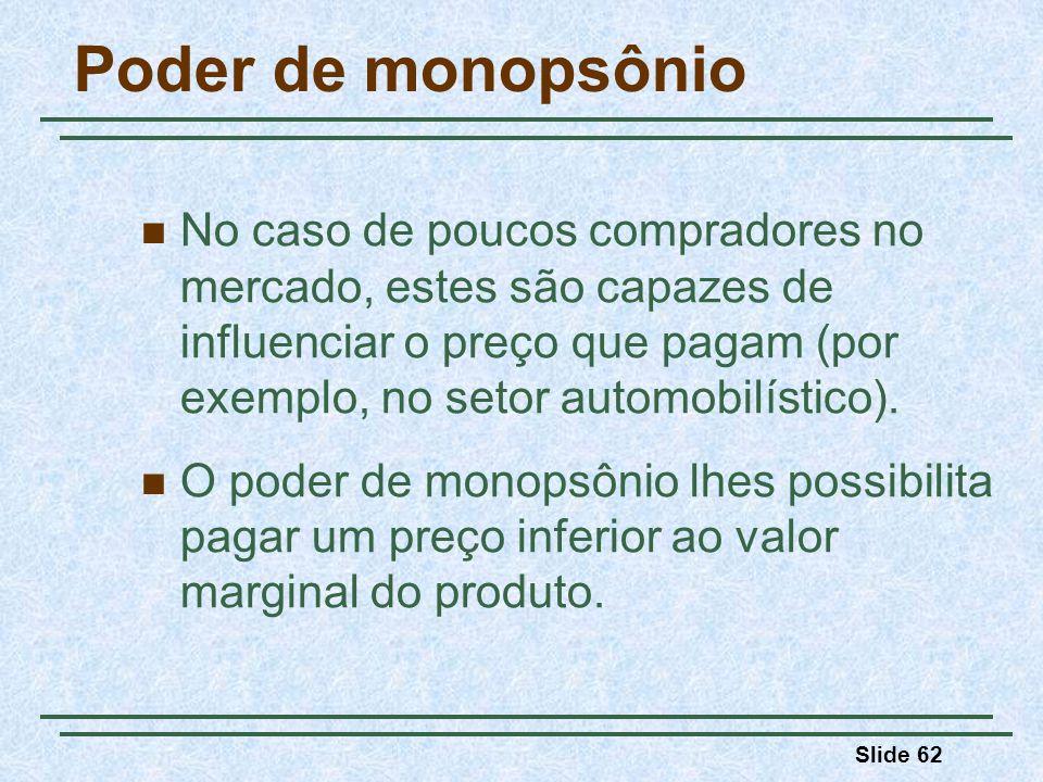 Slide 62 Poder de monopsônio No caso de poucos compradores no mercado, estes são capazes de influenciar o preço que pagam (por exemplo, no setor automobilístico).
