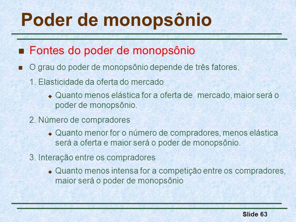 Slide 63 Poder de monopsônio Fontes do poder de monopsônio O grau do poder de monopsônio depende de três fatores.