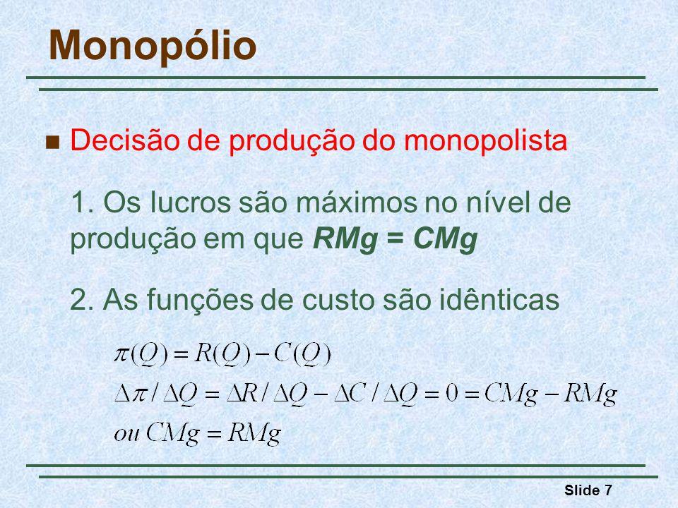 Slide 8 Monopólio Se a empresa produzir abaixo do nível para o qual RMg = CMg, a redução na receita será maior do que a redução no custo (RMg > CMg).