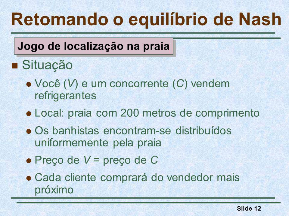 Slide 12 Retomando o equilíbrio de Nash Situação Você (V) e um concorrente (C) vendem refrigerantes Local: praia com 200 metros de comprimento Os banh