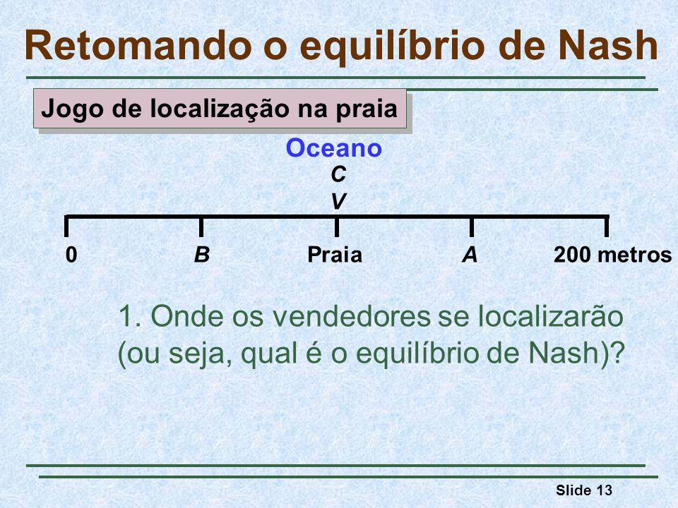 Slide 13 Retomando o equilíbrio de Nash 1. Onde os vendedores se localizarão (ou seja, qual é o equilíbrio de Nash)? Oceano 0BPraiaA200 metros CVCV Jo