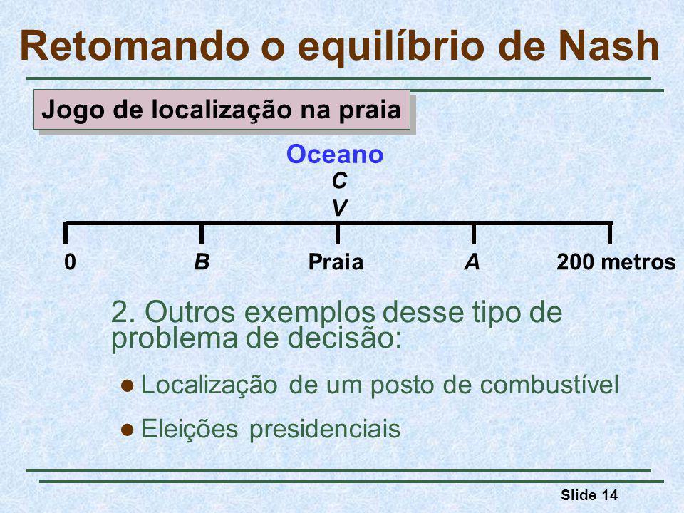 Slide 14 Retomando o equilíbrio de Nash 2. Outros exemplos desse tipo de problema de decisão: Localização de um posto de combustível Eleições presiden