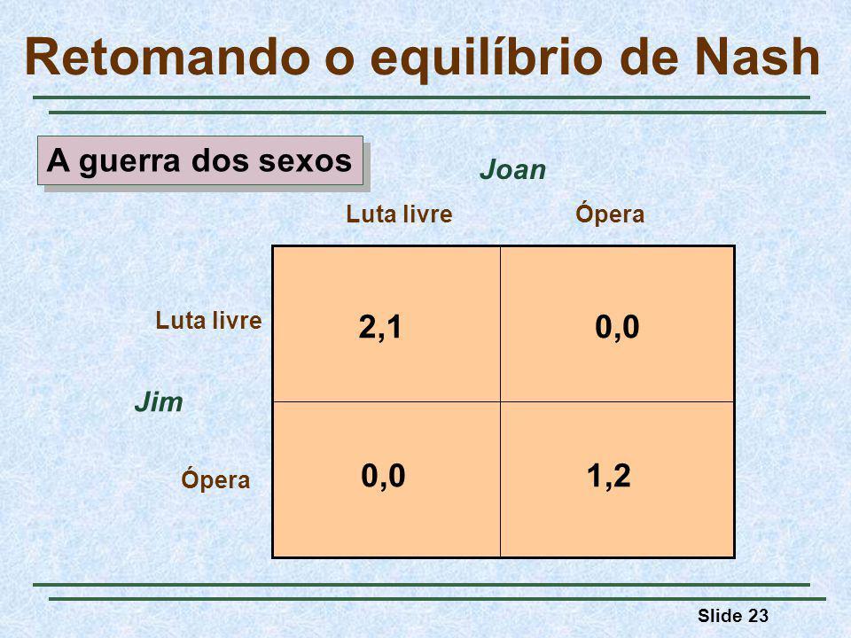 Slide 23 Retomando o equilíbrio de Nash Jim Luta livreÓpera Luta livre Ópera Joan 2,10,0 1,20,0 A guerra dos sexos