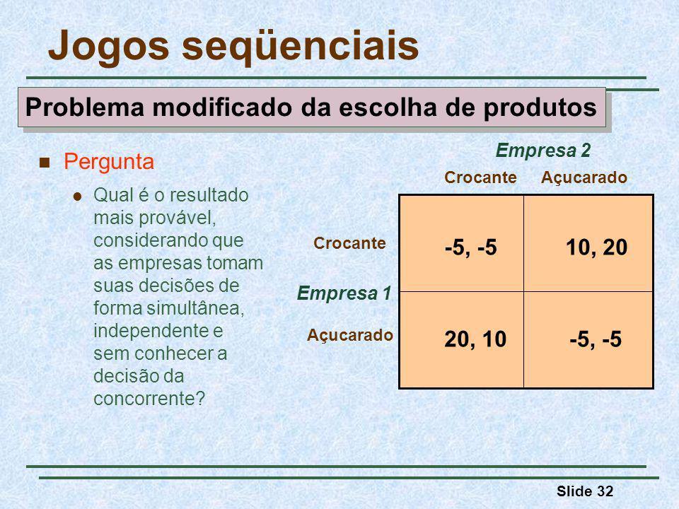 Slide 32 Jogos seqüenciais Empresa 1 CrocanteAçucarado Crocante Açucarado Empresa 2 -5, -510, 20 -5, -520, 10 Pergunta Qual é o resultado mais prováve