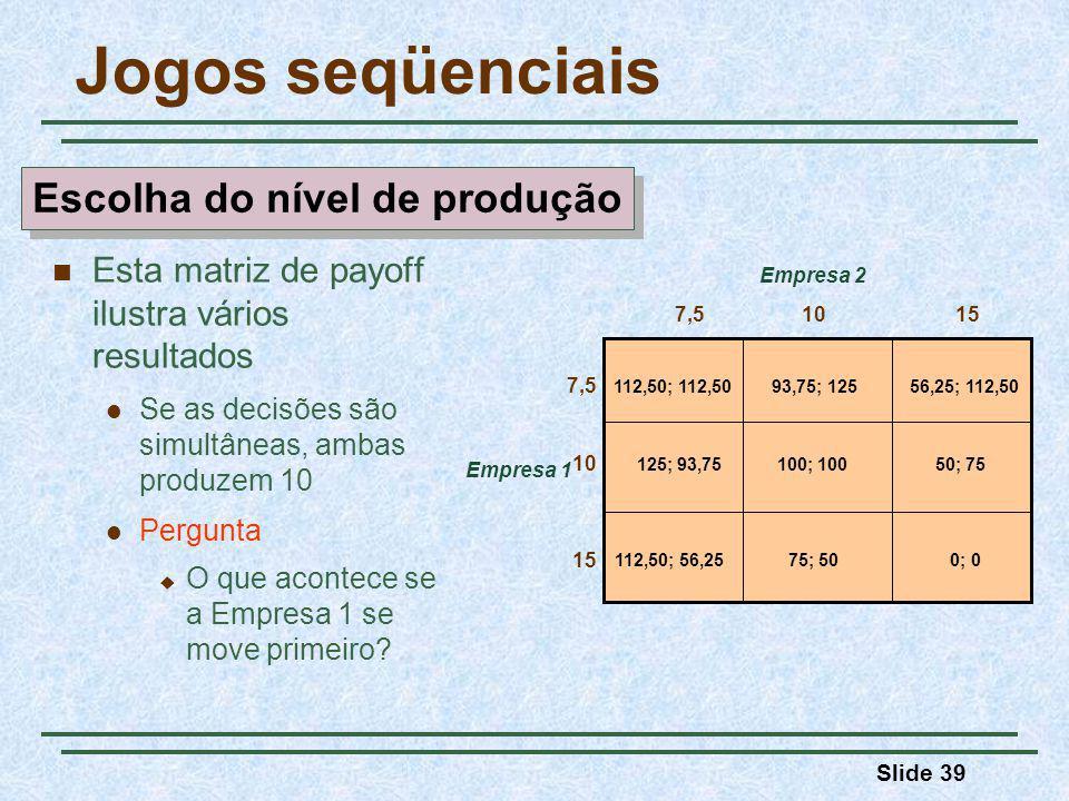 Slide 39 Jogos seqüenciais Empresa 1 7,5 Empresa 2 112,50; 112,5056,25; 112,50 0; 0112,50; 56,25 125; 93,7550; 75 93,75; 125 75; 50 100; 100 1015 7,5 10 15 Esta matriz de payoff ilustra vários resultados Se as decisões são simultâneas, ambas produzem 10 Pergunta O que acontece se a Empresa 1 se move primeiro.