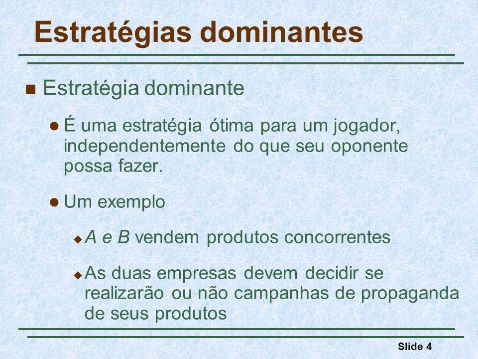 Slide 5 Estratégias dominantes Empresa A Faz propaganda Não faz propaganda Faz propaganda Não faz propaganda Empresa B 10, 515, 0 10, 26, 8 Matriz de payoff para o jogo da propaganda