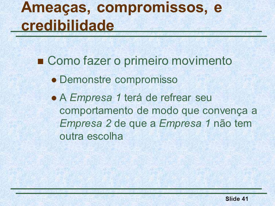 Slide 41 Como fazer o primeiro movimento Demonstre compromisso A Empresa 1 terá de refrear seu comportamento de modo que convença a Empresa 2 de que a