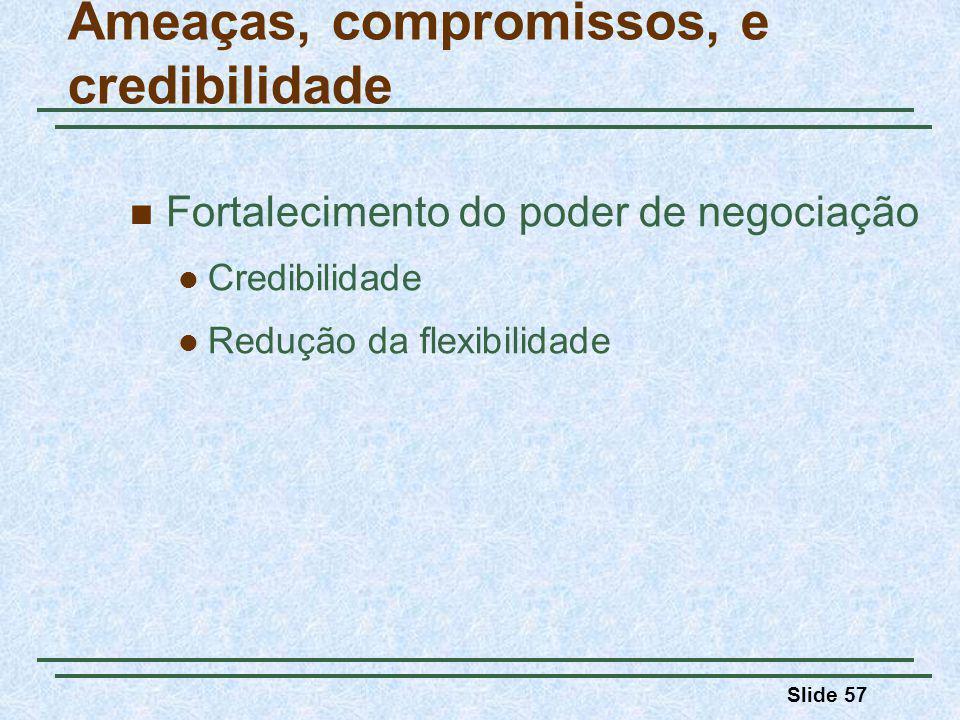 Slide 57 Ameaças, compromissos, e credibilidade Fortalecimento do poder de negociação Credibilidade Redução da flexibilidade