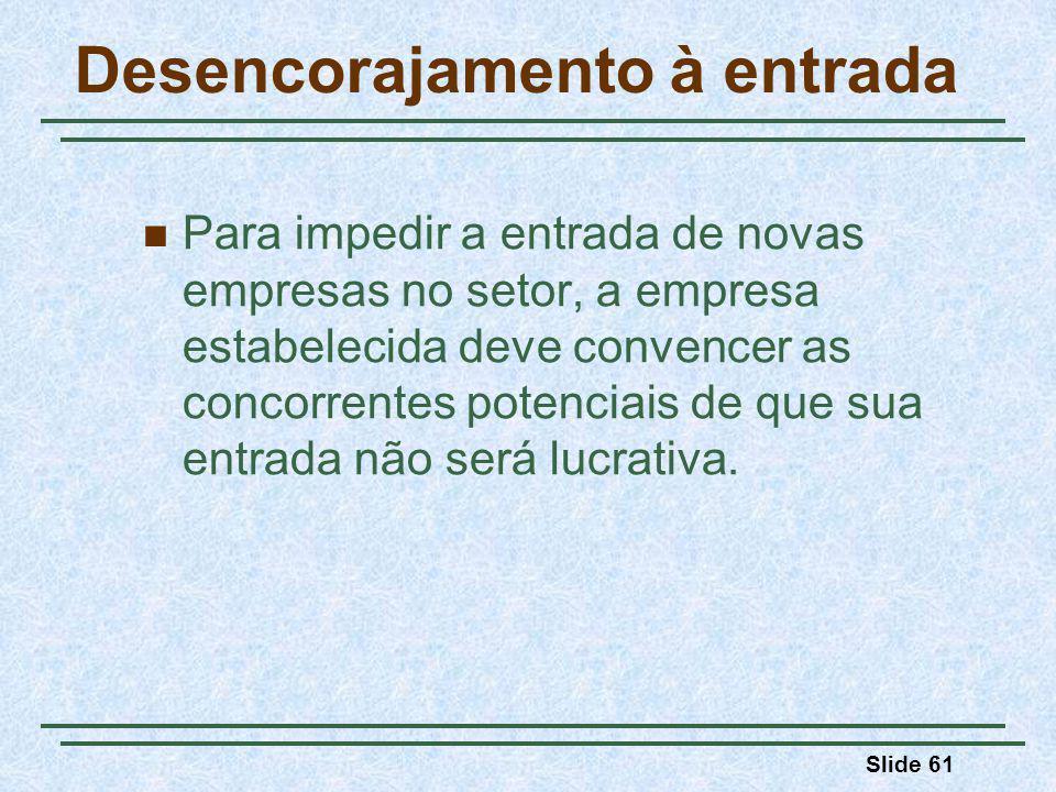 Slide 61 Desencorajamento à entrada Para impedir a entrada de novas empresas no setor, a empresa estabelecida deve convencer as concorrentes potenciai