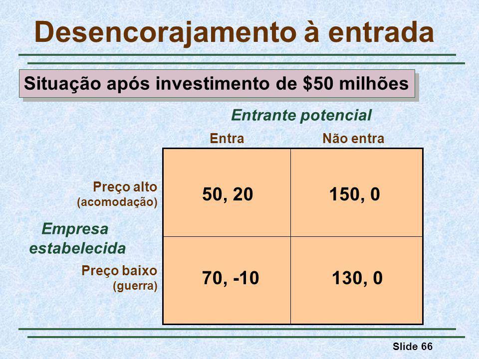 Slide 66 Desencorajamento à entrada Empresa estabelecida EntraNão entra Preço alto (acomodação) Preço baixo (guerra) Entrante potencial 50, 20150, 0 130, 070, -10 Situação após investimento de $50 milhões