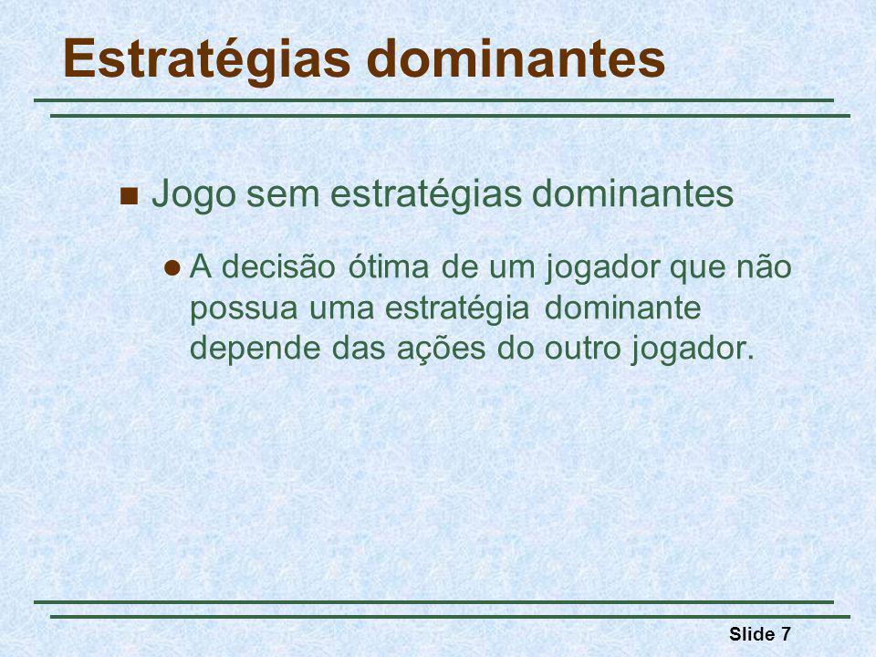 Slide 7 Estratégias dominantes Jogo sem estratégias dominantes A decisão ótima de um jogador que não possua uma estratégia dominante depende das ações do outro jogador.